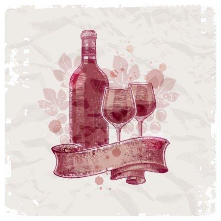Illustration pour Grunge bouteille de vin dessinée à la main & verres sur fond papier vintage - illustration vectorielle - image libre de droit