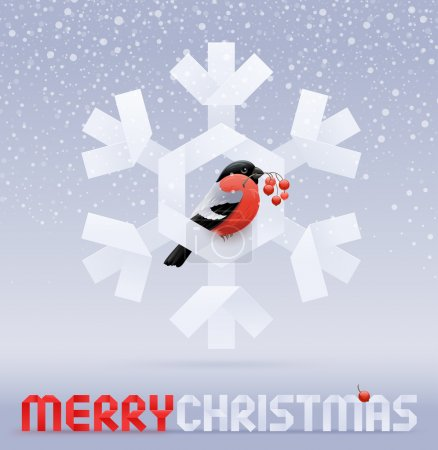 Christmas illustration - a bullfinch with ashberries on a snowflake