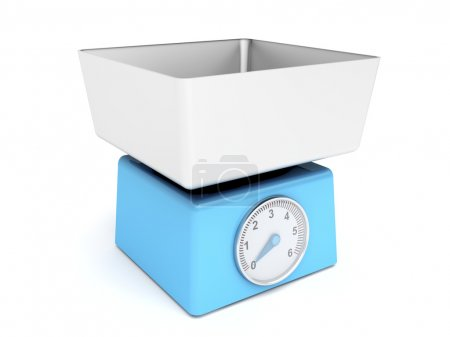 3d image of blue retro kitchen weight scale...