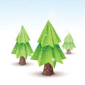 Origami vector christmas tree - original new year card