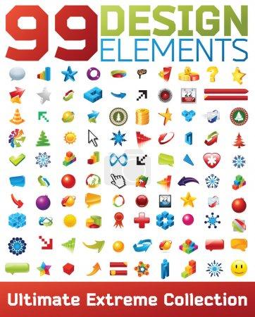 Illustration pour Grande collection d'icônes vectorielles. 99 éléments de conception. - image libre de droit