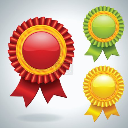 Photo for Collection of three vector Medals with ribbons - Royalty Free Image