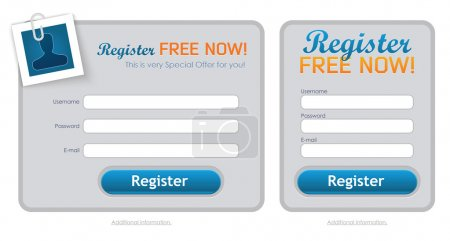 Illustration pour Nettoyer avec de multiples options de formulaire d'inscription - image libre de droit