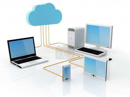 Photo for Home Electronic Devices connected to cloud server. Note: All Devices design and all screen interface graphics in this series are designed by the contributor hi - Royalty Free Image