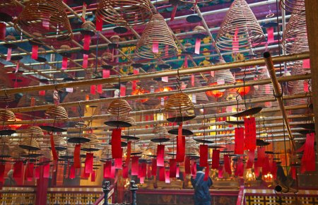 The interior of the Man Mo Temple