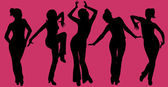 Five dancing women silhouettes on purple background