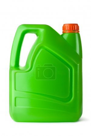 Green plastic canister for household chemicals