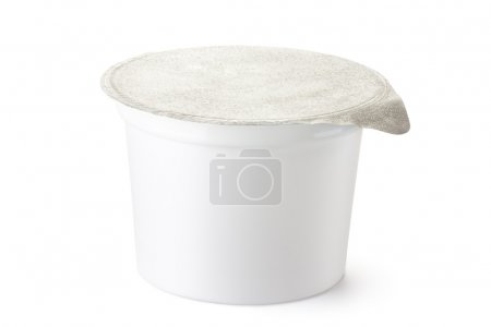 Photo for Plastic container for dairy foods with foil lid. Isolated on white. - Royalty Free Image