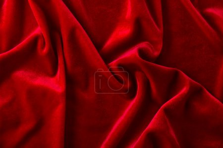 Red velvet fabric with arbitrary folds