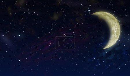 Foto de La media luna en el cielo estrellado. la imagen detallada - Imagen libre de derechos