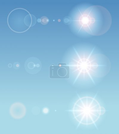 Illustration for Lens flare set with transparent easy replace background and edit colors. Design elements. - Royalty Free Image