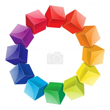 Color wheel 3d from cubes on white background...
