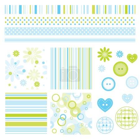 Illustration pour Ensemble d'éléments de conception de scrapbook - image libre de droit