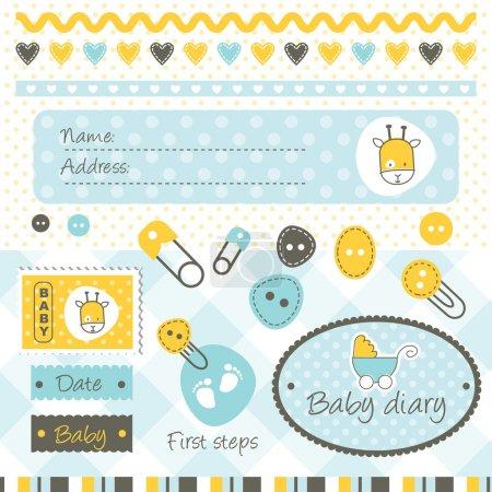 Illustration pour Cute baby shower design elements - image libre de droit