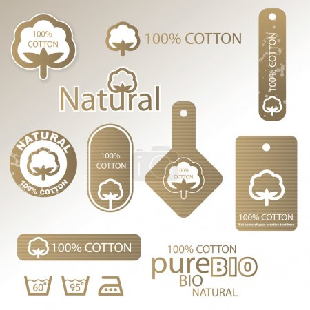 Illustration for Set of cotton labels - Royalty Free Image