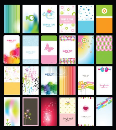 Set of colorful cards