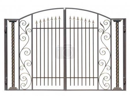 Photo for Modern light decorative forged gates. Isolated over white background. - Royalty Free Image