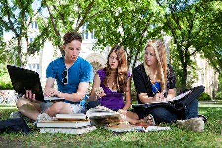 Photo pour Groupe d'étudiants étudient ensemble sur terrain de campus - image libre de droit