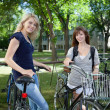 Young female students standing with bicycle at col...