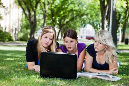 Group of students with laptop