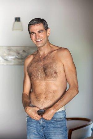 Shirtless Man Smiling
