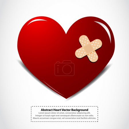 Illustration for Heart with a plaster vector background - Royalty Free Image