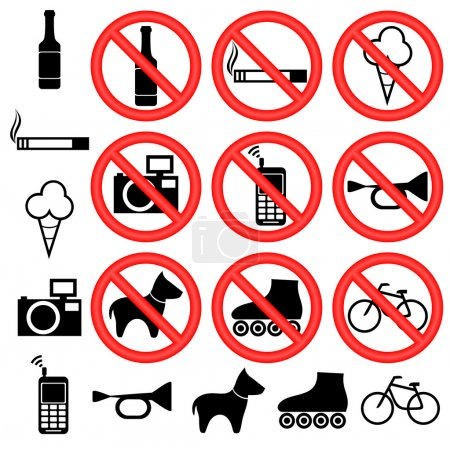 Signs forbidding different actions in various plac...