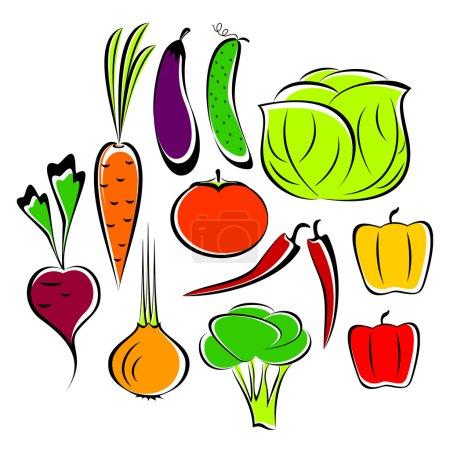 Illustration pour Les différents légumes dessinés sur un fond blanc. Légumes sont unis dans l'ensemble . - image libre de droit