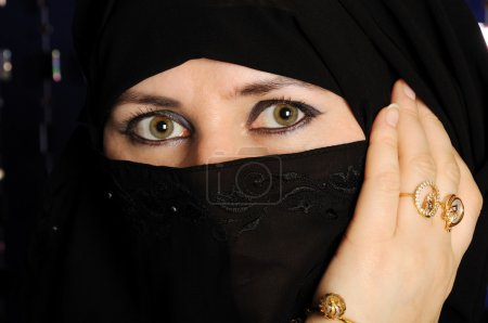 Photo for Close up picture of a Muslim woman wearing a black veil - Royalty Free Image