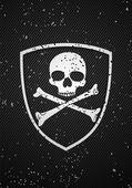Vector skull badge on black background