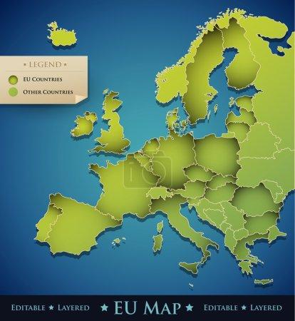 Carte Europe Vector avec les pays de l'Union européenne (UE)