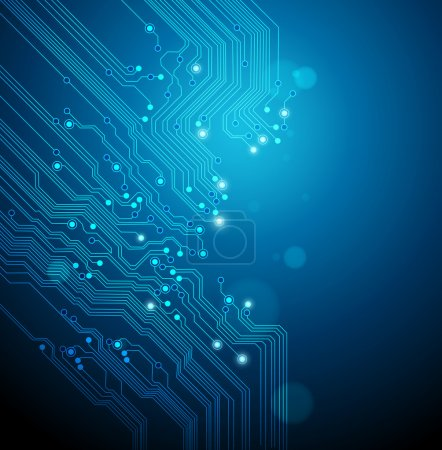 Photo for Circuit board vector blue background - Royalty Free Image