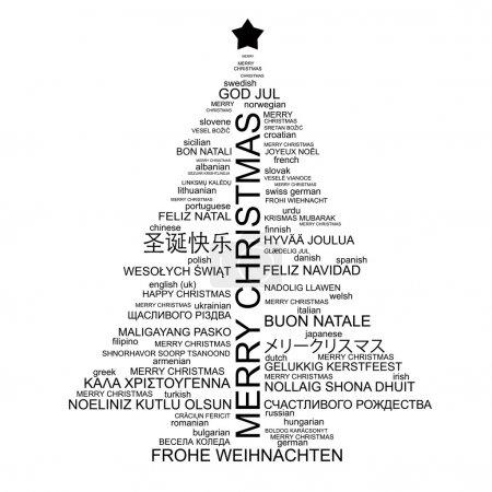 Illustration pour Arbre de Noël en forme de lettres - composition typographique - Joyeux Noël dans différentes langues - vecteur - image libre de droit