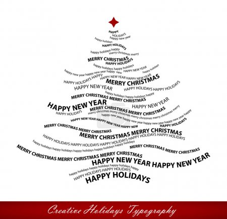 Illustration for Christmas tree shape from words - typographic composition - Merry Christmas, Happy Holidays, Happy New Year - vector - Royalty Free Image