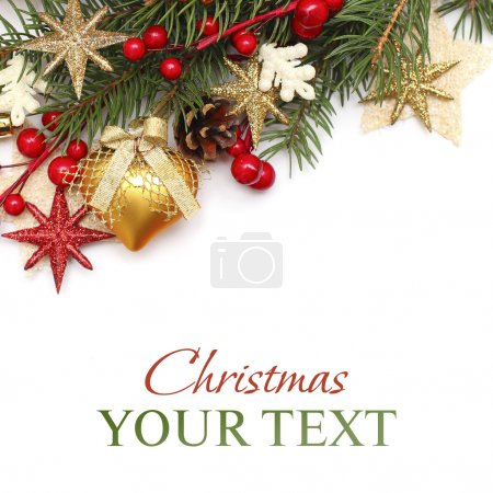 CChristmas background with gold Xmas decoration on white