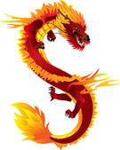 The vector image of the Asian dragon