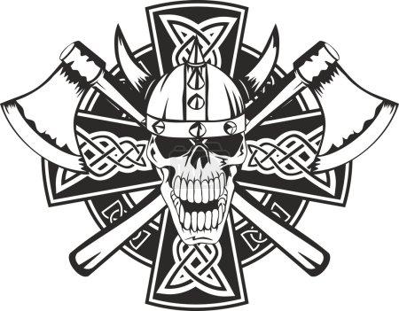 Celtic cross and skull