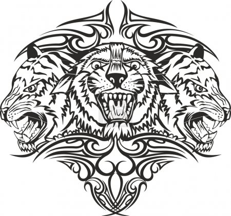 Illustration for Vector illustration head tiger with patterns - Royalty Free Image