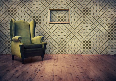 Photo for Vintage room with wallpaper and old fashioned armchair - Royalty Free Image