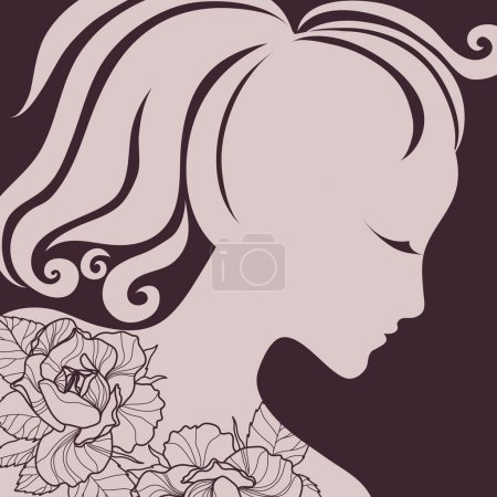 "Illustration for Vector closeup portrait of a girl with beautiful hair (from my big ""Vintage girl collection"") - Royalty Free Image"