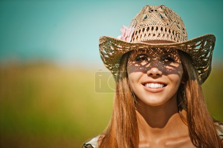 Portrait attractive young woman hat