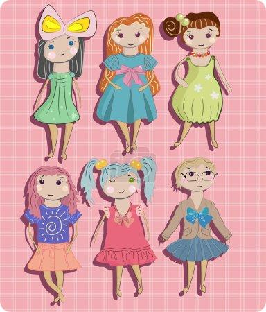 Photo pour Les enfants, différentes petites filles ensemble - image libre de droit