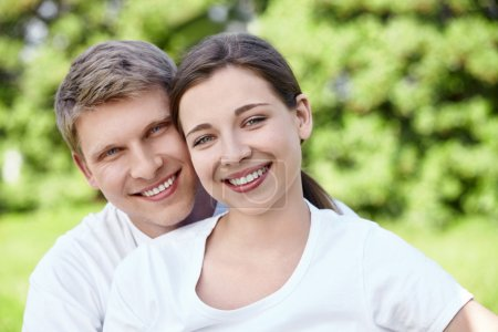 Photo for Young happy couple outdoors - Royalty Free Image