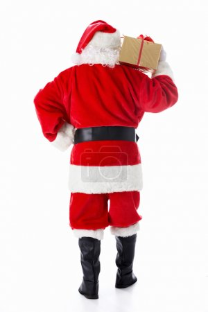 Photo for Santa Claus with a gift isolated - Royalty Free Image