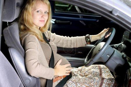 Pregnant women in car