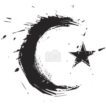 Illustration pour Symbole de religion islamique créé dans le style grunge - image libre de droit