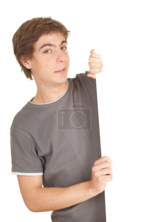 Man holding balnk billboard