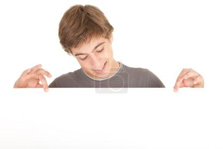 Man holding balnk sign