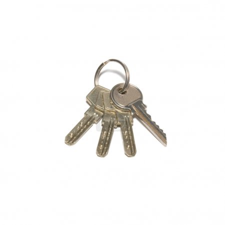 Photo for Bunch of silver keys isolated on white. - Royalty Free Image