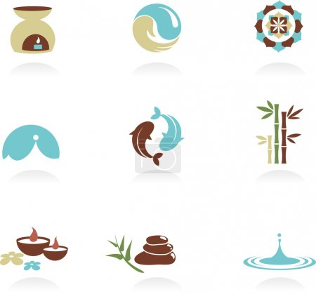 Illustration for Collection of spa and Zen icons and elements, vector illustration - Royalty Free Image